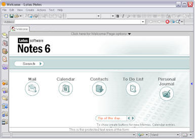 Lotus Notes Client Software - Welcome Screen